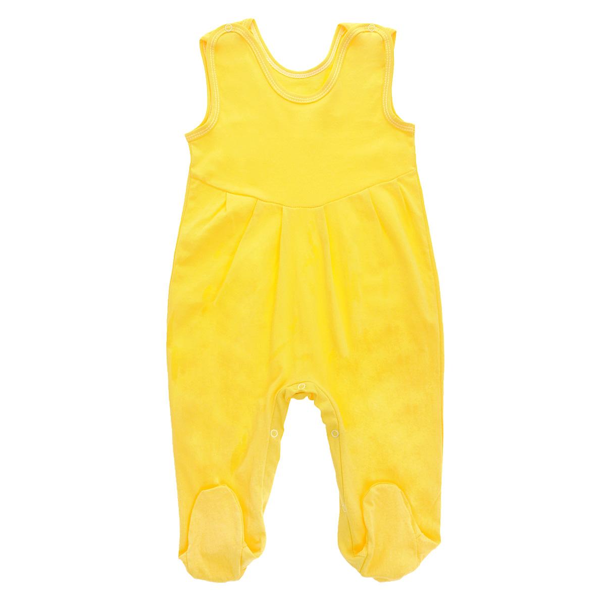 Ползунки с грудкой Трон-плюс, цвет: желтый. 5237. Размер 74, 9 месяцев5237Ползунки с грудкой Трон-плюс - очень удобный и практичный вид одежды для малышей. Они отлично сочетаются с футболками и кофточками. Ползунки выполнены из кулирного полотна - натурального хлопка, благодаря чему они необычайно мягкие и приятные на ощупь, не раздражают нежную кожу ребенка и хорошо вентилируются, а эластичные швы приятны телу младенца и не препятствуют его движениям. Ползунки с закрытыми ножками, застегивающиеся сверху на кнопки, идеально подойдут вашему ребенку, обеспечивая ему наибольший комфорт, подходят для ношения с подгузником и без него. Кнопки на ластовице помогают легко и без труда поменять подгузник в течение дня. От линии груди заложены складочки, придающие изделию оригинальность.Ползунки с грудкой полностью соответствуют особенностям жизни младенца в ранний период, не стесняя и не ограничивая его в движениях!