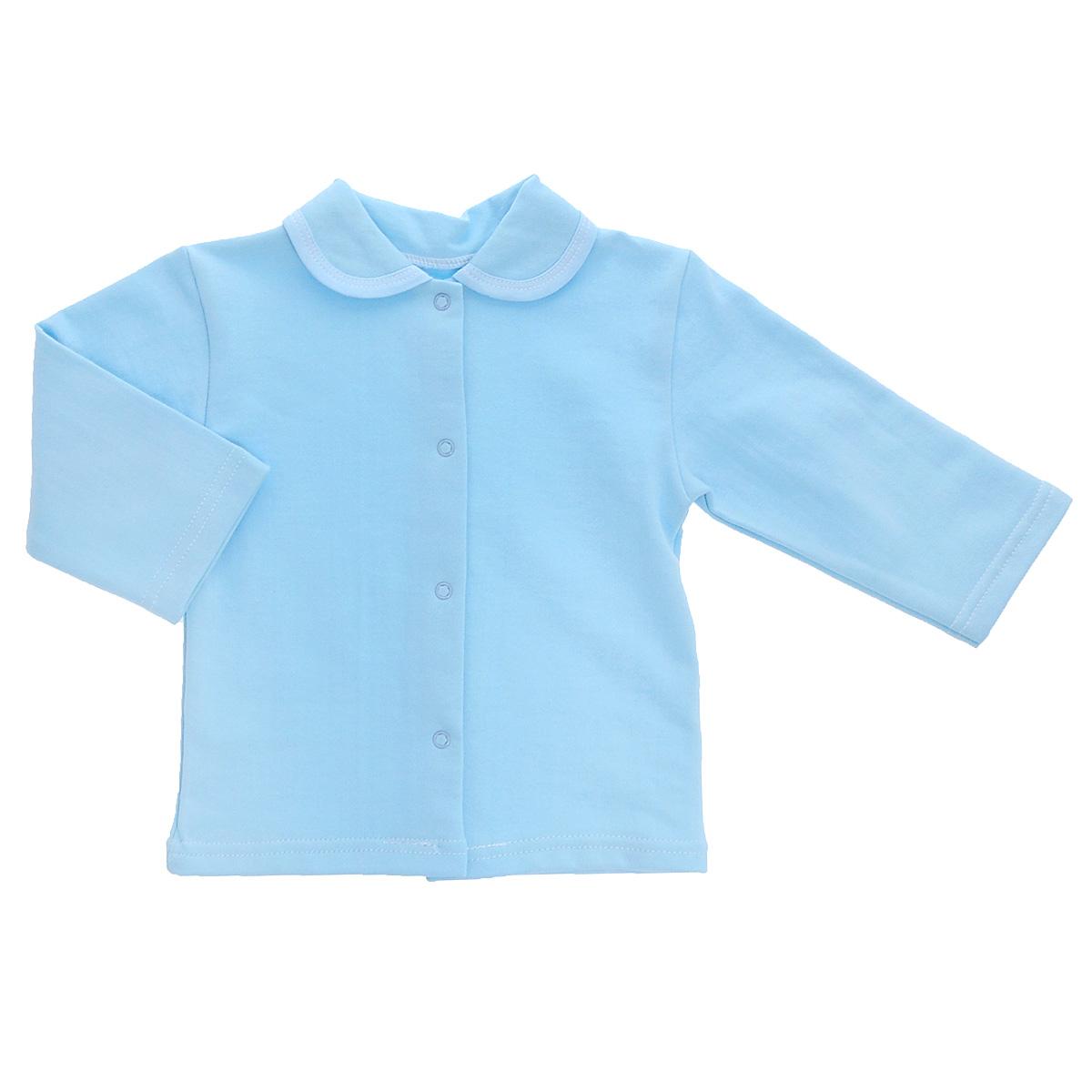 Кофточка детская Трон-плюс, цвет: голубой. 5175. Размер 74, 9 месяцев5175Кофточка для новорожденного Трон-плюс с длинными рукавами послужит идеальным дополнением к гардеробу вашего малыша, обеспечивая ему наибольший комфорт. Изготовленная из футерованного полотна - натурального хлопка, она необычайно мягкая и легкая, не раздражает нежную кожу ребенка и хорошо вентилируется, а эластичные швы приятны телу малыша и не препятствуют его движениям. Удобные застежки-кнопки по всей длине помогают легко переодеть младенца. Модель дополнена отложным воротником.Кофточка полностью соответствует особенностям жизни ребенка в ранний период, не стесняя и не ограничивая его в движениях.
