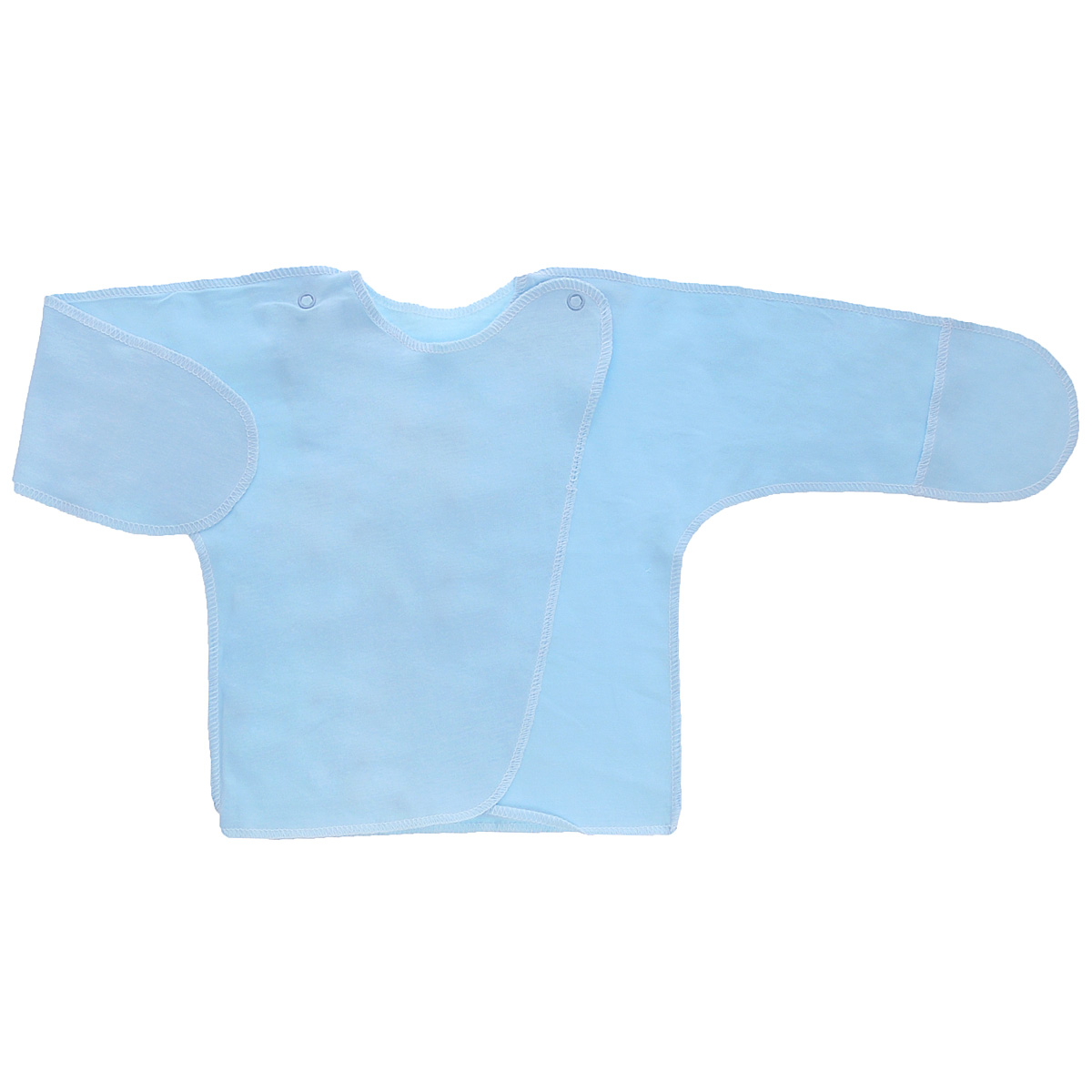 Распашонка Трон-плюс, цвет: голубой. 5003. Размер 56, 1 месяц5003Распашонка с закрытыми ручками Трон-плюс послужит идеальным дополнением к гардеробу младенца. Распашонка, выполненная швами наружу, изготовлена из кулирного полотна - натурального хлопка, благодаря чему она необычайно мягкая и легкая, не раздражает нежную кожу ребенка и хорошо вентилируется, а эластичные швы приятны телу малыша и не препятствуют его движениям. Распашонка с запахом, застегивается при помощи двух кнопок на плечах, которые позволяют без труда переодеть ребенка. Благодаря рукавичкам ребенок не поцарапает себя.