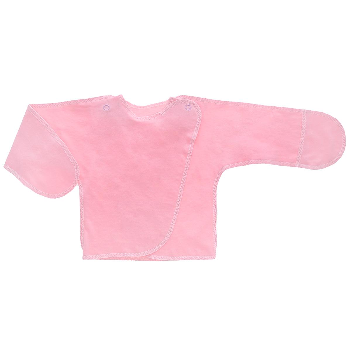 Распашонка Трон-плюс, цвет: розовый. 5003. Размер 56, 1 месяц5003Распашонка с закрытыми ручками Трон-плюс послужит идеальным дополнением к гардеробу младенца. Распашонка, выполненная швами наружу, изготовлена из кулирного полотна - натурального хлопка, благодаря чему она необычайно мягкая и легкая, не раздражает нежную кожу ребенка и хорошо вентилируется, а эластичные швы приятны телу малыша и не препятствуют его движениям. Распашонка с запахом, застегивается при помощи двух кнопок на плечах, которые позволяют без труда переодеть ребенка. Благодаря рукавичкам ребенок не поцарапает себя.