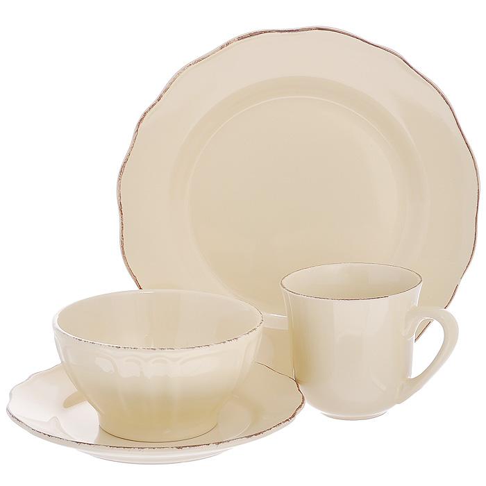 """Столовый набор """"Танжерин"""", выполненный из высококачественной керамики кремового цвета, создаст отличное настроение во время обеда и понравится каждой хозяйке. В набор входят обеденная тарелка, суповая миска, десертная тарелка и кружка. Предметы набора выполнены в едином стиле. Лаконичный дизайн выглядит стильно. Такой набор хорошо сочетается с любыми другими предметами сервировки. Характеристики:Материал: керамика. Диаметр суповой тарелки: 14,5 см. Высота суповой тарелки: 7,5 см. Диаметр обеденной тарелки: 27 см. Диаметр десертной тарелки: 21 см. Диаметр кружки по верхнему краю: 10 см. Высота кружки: 9,5 см. Размеры упаковки: 27,5 см х 13,5 см х 27,5 см. Артикул: 555-057."""