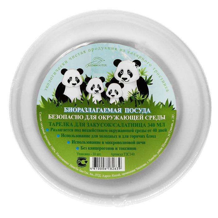 Набор био-тарелок для закусок Greenmaster, цвет: белый, 340 мл, 10 штТЗС340Набор Greenmaster состоит из 10 био-тарелок для закусок. Биоразлагаемая посуда, полученная из сахарного тростника, является экологически чистой и абсолютно безопасной для окружающей среды. Разлагается под воздействием окружающей среды от 40 дней. Используется для холодных и для горячих блюд. Можно использовать в микроволновой печи. Без канцерогенов и токсинов.Материал: сахарный тростник 100%.Объем тарелок: 340 мл.Размер тарелки: 15,2 см х 4,56 см х 15,2 см.Комплектация: 10 штук.