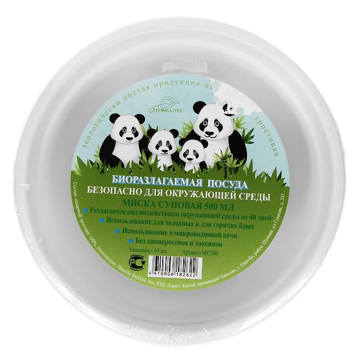 Набор суповых био-мисок Greenmaster, цвет: белый, 500 мл, 10 штМС500Набор Greenmaster состоит из 10 суповых био-мисок. Биоразлагаемая посуда, полученная из сахарного тростника, является экологически чистой и абсолютно безопасной для окружающей среды. Разлагается под воздействием окружающей среды от 40 дней. Используется для холодных и для горячих блюд. Можно использовать в микроволновой печи. Без канцерогенов и токсинов.Материал: сахарный тростник 100%.Объем мисок: 500 мл.Размер тарелки: 15,5 см х 15,5 см х 5,6 см.Комплектация: 10 штук.