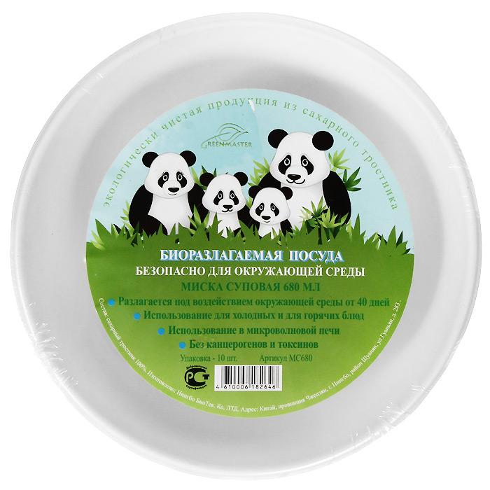 """Набор """"Greenmaster"""" состоит из 10 суповых био-мисок. Биоразлагаемая посуда, полученная из сахарного тростника, является экологически чистой и абсолютно безопасной для окружающей среды. Разлагается под воздействием окружающей среды от 40 дней. Используется для холодных и для горячих блюд.  Можно использовать в микроволновой печи.  Без канцерогенов и токсинов.  Материал: сахарный тростник 100%. Объем мисок: 680 мл. Размер тарелки: 18,9 см х 4,6 см х 18,9 см. Комплектация: 10 штук."""