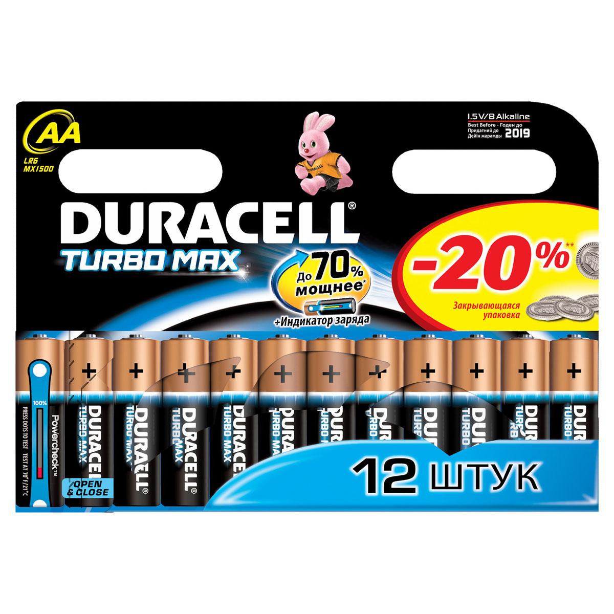 Набор алкалиновых батареек  Duracell TurboMax , тип AA, 12шт - Батарейки и аккумуляторы