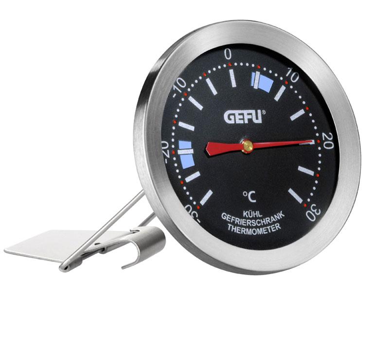 Термометр для холодильника Gefu, цвет: серебристый21890Благодаря термометру от GEFU продукты хранятся при оптимальном температурном режиме, а электроэнергия экономится. На шкале отображены оптимальные температурные диапазоны для хранения продуктов в холодильнике и морозильной камере. Просто повесьте термометр на решетке, либо поставьте на поверхность, проконтролируйте температуру на термометре и отрегулируйте работу холодильника. Единица измерения 1°С, температурный диапазон от -30 до +30°С. Характеристики: Материал:нержавеющая сталь. Цвет:серебристый. Размер термометра:8 см х 19 см х 4 см. Размер упаковки:8 см х 19 см х 4 см. Производитель: Германия. Артикул: 21890.