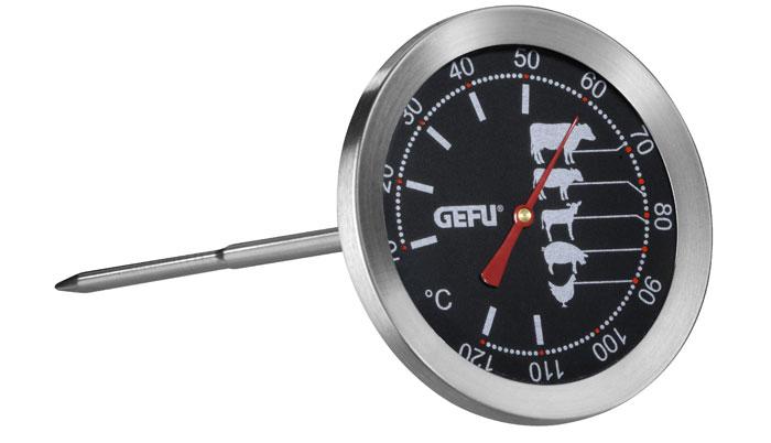 Термометр для жарки Gefu, цвет: серебристый21880Термометр Gefu позволяет определять температуру запекаемого блюда. На термометре для жарки от Gefu изображена шкала с оптимальным температурным диапазоном для приготовления говядины, свинины, баранины, птицы, дичи. Температурный датчик (спица) имеет длину 11,5 см, благодаря чему может показывать температуру даже внутри крупных кусков. Как это работает: воткните термометр в кусок мяса, дождитесь индикации температуры на градуснике.Такой термометр займет достойное место среди аксессуаров на вашей кухне. Характеристики: Материал:нержавеющая сталь. Цвет:серебристый. Размер термометра:8 см х 7 см х 19 см. Размер упаковки:8,2 см х 7,6 см х 19,2 см. Производитель: Германия. Артикул: 21880.