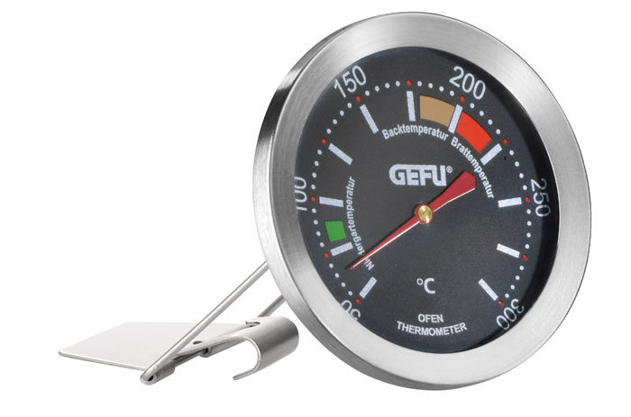 Термометр позволяет контролировать температуру в духовке. Термометр можно повесить на решетке, либо поставить на поверхность. Цветом выделен оптимальный диапазон для низкотемпературной готовки, для запекания, для жарки.   Диаметр термометра: 7 см.  Диапазон температур: от 50°C до 300°C.