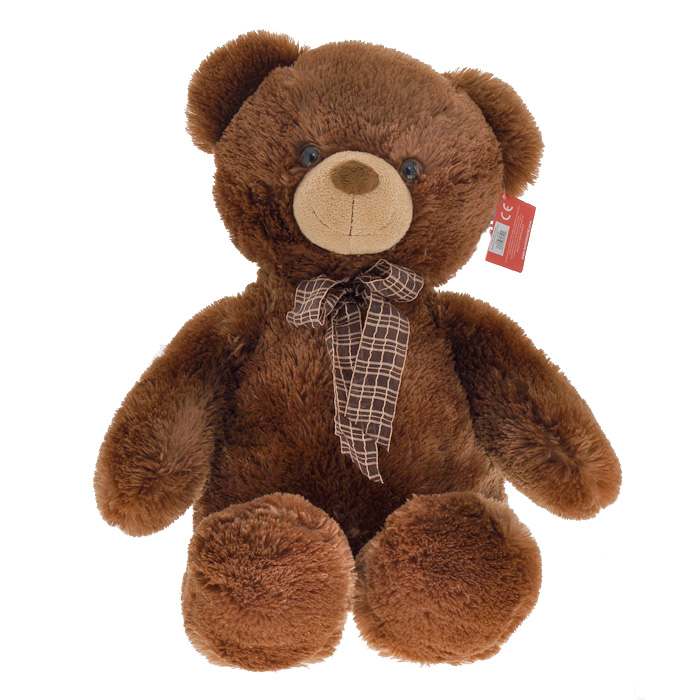 Мягкая игрушка Aurora Медведь, с бантом, цвет: коричневый, 69 см малышарики мягкая игрушка собака бассет хаунд 23 см
