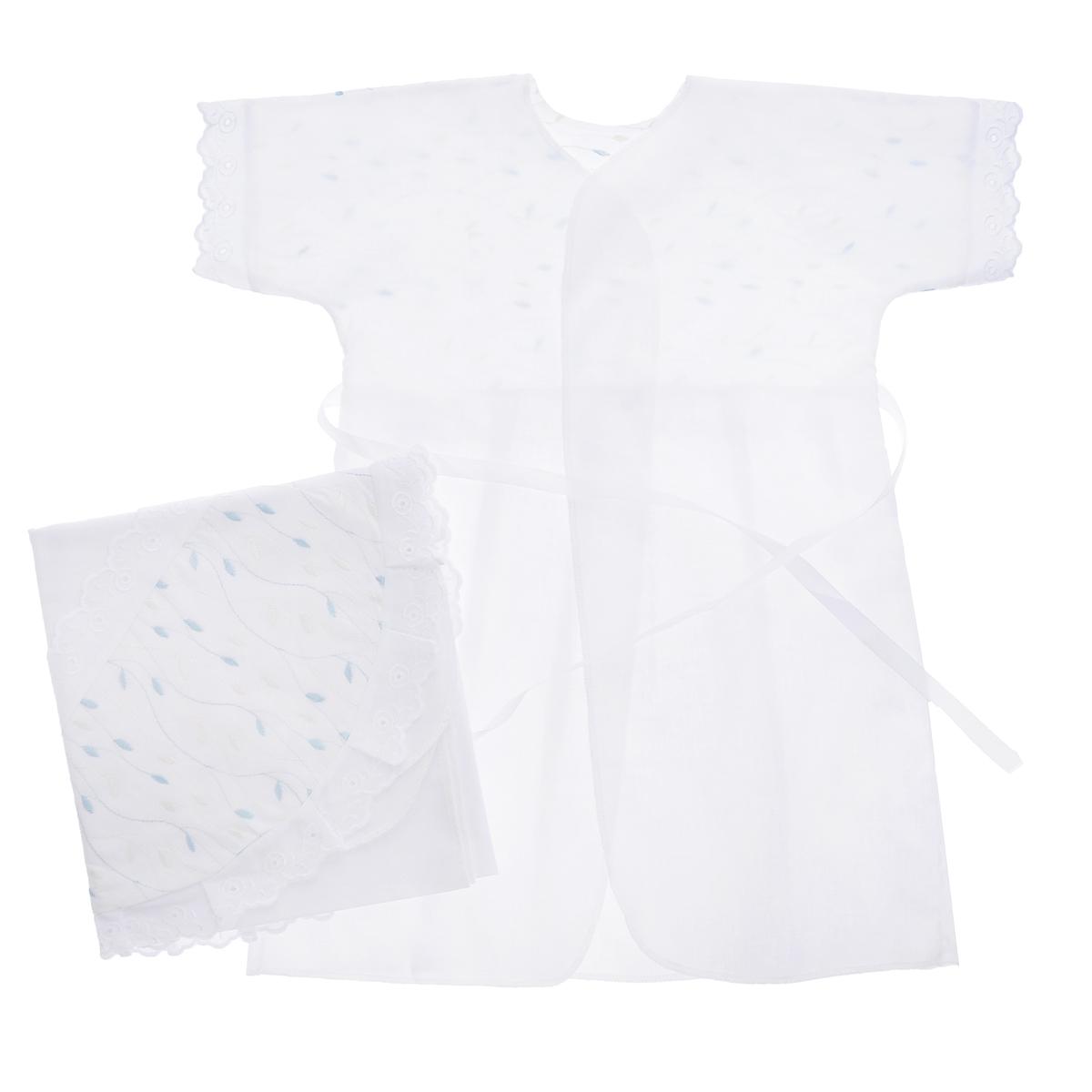 Комплект для крещения детский Трон-плюс: рубашка, пеленка, цвет: белый, голубой. 1402. Размер 68, 6 месяцев1402Великолепный комплект для крещения Трон-плюс состоит из рубашки и пеленки с капюшоном. Изготовленный из натурального хлопка, он необычайно мягкий и приятный на ощупь, не сковывает движения младенца и позволяет коже дышать, не раздражает нежную кожу ребенка, обеспечивая ему наибольший комфорт. Рубашечка с запахом сзади и цельнокроенными рукавами имеет полочку на кокетке, отделанную средним шитьем. От линии талии заложены складки. Полочка и край рукавов оформлены ажурными рюшами. Спереди рубашка украшена вышивкой. Завязывается рубашка с помощью атласного пояска.Уголок с капюшоном позволяет полностью завернуть малыша после купания. Капюшон украшен ажурными рюшами и вышивкой.Такой комплект станет незаменимым для обряда Крещения и поможет сделать его запоминающимся.