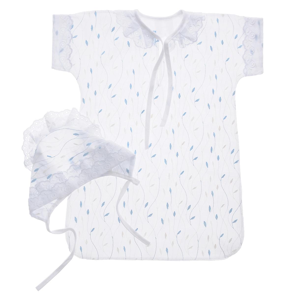 Комплект для крещения детский Трон-плюс: рубашка, чепчик, цвет: белый, голубой. 1403. Размер 68, 6 месяцев