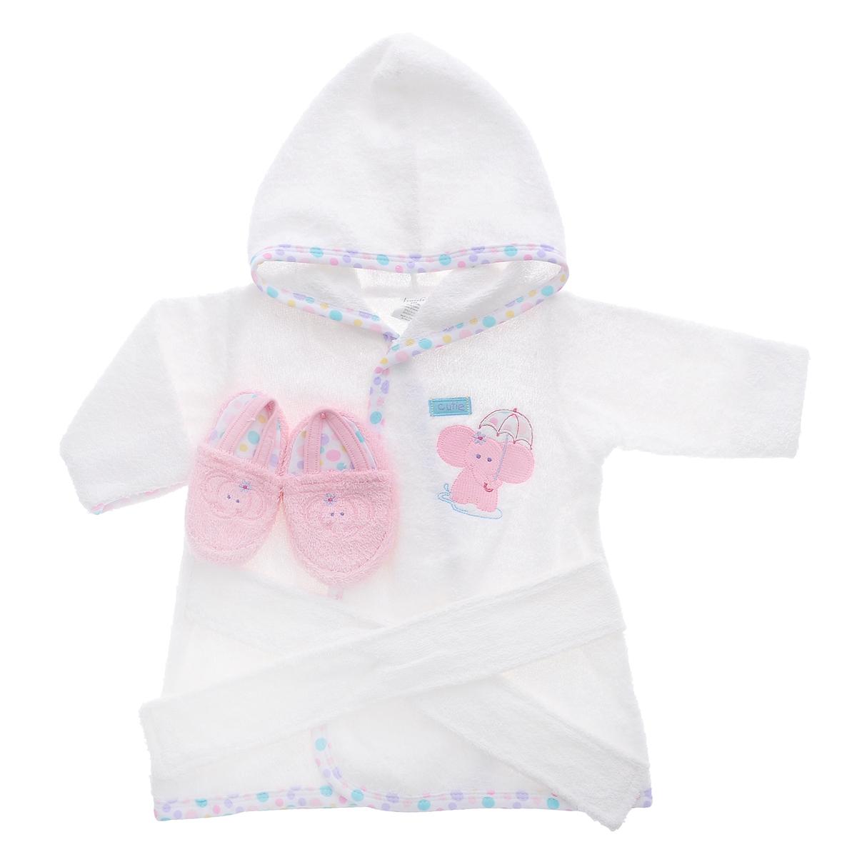 Комплект для новорожденного Luvable Friends: халат, тапочки, цвет: белый, розовый. 05153. Размер 55/72, 0-9 месяцев05153Прекрасный комплект для новорожденного Luvable Friends состоит из банного халатика с капюшоном и тапочек-пинеток. Махровая поверхность хорошо впитывает влагу, защищая малыша от переохлаждения.Халатик и тапочки оформлены веселыми вышивками с изображением забавных животных. Халат на талии дополнен широким пояском, а тапочки эластичной перетяжкой, благодаря чему надежно держаться на ножке. В таком комплекте вашему малышу будет тепло и уютно после купания.