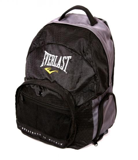 Рюкзак спортивный Everlast Back Pack, цвет: черноый, серый. EVB01EVB01Усиленная ручка, для переноса. Дополнительные ремни помогают обеспечить хорошую фиксацию рюкзака на спине. Система спинки обеспечивает отличную вентиляцию и комфорт при переноске. Удобный внешний карман на молнии. Два кармана-сетки. А так же множество других карманов. Технология EverCool-дышащая ткань и система вентиляции. Характеристики: Материал: полиэстер. Размер: 45 см х 35 см х 15 см. Цвет: черный, серый. Артикул: EVB01. Производитель: Китай.