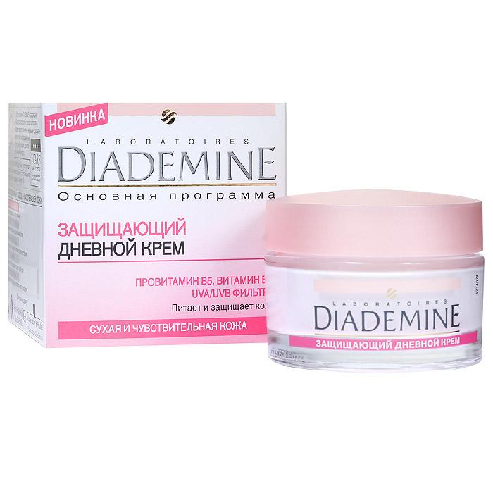 Diademine Крем для лица, защищающий, дневной, для сухой и чувствительной кожи, 50 мл9430860Крем для лица Diademine питает и защищает кожу. Защитный дневной крем, восстанавливает недостаток влаги и защищает от агрессивного воздействия внешней среды. Легкая формула быстро впитывается и проникает в глубокие слои кожи, увлажняя ее. Формула с витамином Е успокаивает и питает кожу, делая ее нежной и упругой. UVA/UVB фильтры защищают кожу от УФ-лучей. Характеристики:Объем: 50 мл. Рекомендуемый возраст: от 25 до 55. Артикул: 1721321. Производитель: Россия. Товар сертифицирован.