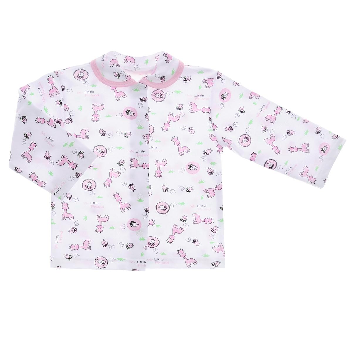 Кофточка детская Трон-плюс, цвет: белый, розовый, рисунок жирафа. 5175. Размер 56, 1 месяц5175Кофточка для новорожденного Трон-плюс с длинными рукавами послужит идеальным дополнением к гардеробу вашего малыша, обеспечивая ему наибольший комфорт. Изготовленная из футерованного полотна - натурального хлопка, она необычайно мягкая и легкая, не раздражает нежную кожу ребенка и хорошо вентилируется, а эластичные швы приятны телу малыша и не препятствуют его движениям. Удобные застежки-кнопки по всей длине помогают легко переодеть младенца. Модель дополнена отложным воротником.Кофточка полностью соответствует особенностям жизни ребенка в ранний период, не стесняя и не ограничивая его в движениях.