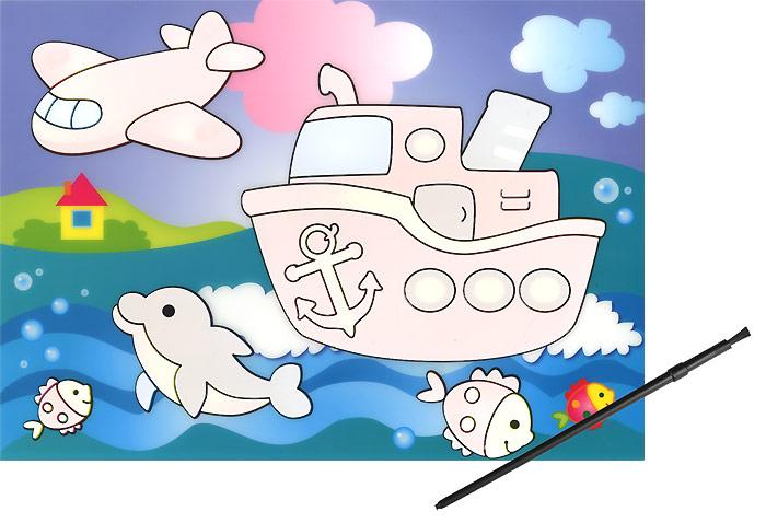 Кораблик. Водная раскраска песочная картинка кораблик