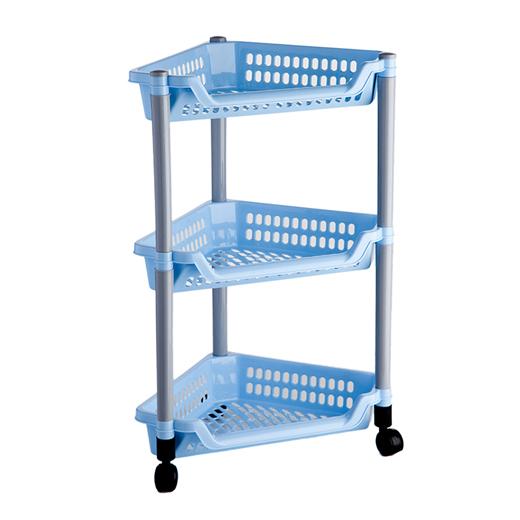"""Угловая этажерка """"Полимербыт"""" с 3 полками выполнена из пластика голубого цвета и предназначена для хранения различных предметов на кухне или в ванной. На кухне в ней можно хранить овощи и фрукты, в ванной - различные ванные принадлежности. Для удобства перемещения этажерка оснащена колесиками. Очень удобная и компактная, но в тоже время вместительная, она прекрасно впишется в пространство любого помещения. Этажерка придется особенно кстати, если у вас небольшая ванная или кухня: она займет минимум пространства. Легко собирается и разбирается.   Характеристики:Материал:  пластик. Цвет: голубой. Размер этажерки: 58 см х 38 см х 30 см. Размер упаковки: 38 см х 27 см х 11 см. Артикул: C087."""