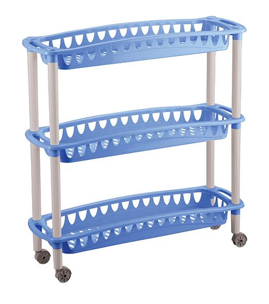 Этажерка Бытпласт Джулия, 3-секционная, на колесиках, цвет в ассортименте, 59 х 18 х 61 смC12415Этажерка Джулия с 3 узкими полками выполнена из пластика и предназначена для хранения различных предметов на кухне или в ванной. На кухне в ней можно хранить овощи и фрукты, в ванной - различные ванные принадлежности. Для удобства перемещения этажерка оснащена колесиками.Очень удобная и компактная, но в тоже время вместительная, она прекрасно впишется в пространство любого помещения. Этажерка придется особенно кстати, если у вас небольшая ванная или кухня: она займет минимум пространства. Легко собирается и разбирается.УВАЖАЕМЫЕ КЛИЕНТЫ!Товар поставляется в цветовом ассортименте. Поставка осуществляется в зависимости от наличия на складе.