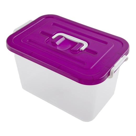 Контейнер для хранения, цвет: прозрачный, фиолетовый, 10 лC810Контейнер для хранения, выполненный из прочного прозрачного пластика, предназначен для хранения различных вещей. Крышка легко открывается и плотно закрывается с помощью легкого щелчка. Имеет удобную ручку для переноски.Контейнер поможет хранить все в одном месте, а также защитить вещи от пыли, грязи и влаги. Характеристики:Материал: пластик. Объем контейнера: 10 л. Размер контейнера: 35 см х 22,5 см х 19 см. Размер упаковки: 35 см х 22,5 см х 19 см. Артикул: С81000. УВАЖАЕМЫЕ КЛИЕНТЫ! Обращаем ваше внимание на ассортимент в цветовом дизайне товара. Поставка осуществляется в зависимости от наличия на складе.