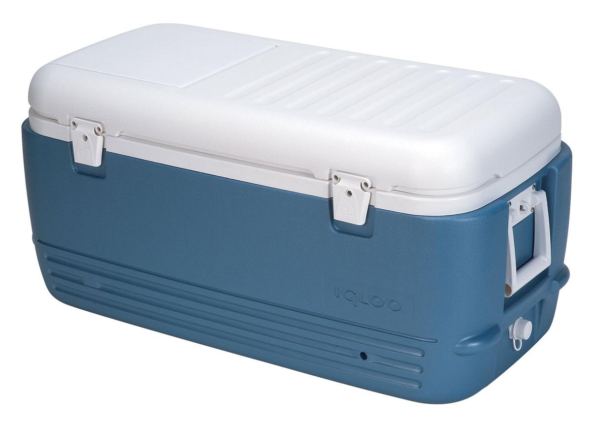 Изотермический пластиковый контейнер Igloo MaxCold 10044361Изотермический пластиковый контейнер Igloo MaxCold 100 предназначен для кратковременного хранения или транспортировки охлажденных продуктов и напитков. Для поддержания температуры рекомендуется использовать с аккумуляторами холода.Особенности модели:Оснащен двойными защелками для безопасного закрытия крышки;Резьбовая сливная пробка для отвода конденсата;Двойная пенная изоляция корпуса и крышки UltraTherm позволяет поддерживать хранить лед 5 дней при 30°С;Люк для быстрого доступа к содержимому контейнера;Удобные складные ручки для переноски с резиновыми вставками. Характеристики: Размер устройства: 90 см х 44 см х 42 см. Вес устройства: 8,5 кг. Объем: 95 л. Изготовитель: США.