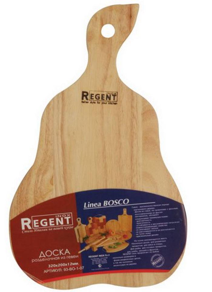 Доска разделочная Regent Inox Груша, из гевеи, 32 х 20 х 1,2 см93-BO-1-07Разделочная доска Regent Inox Груша, выполненная из гевеи, прекрасно подойдет для приготовления и сервировки пищи. Доска идеально подходит для разделки мяса, рыбы и нарезки любых продуктов. Она выполнена в форме груши и имеет специальное отверстие, при помощи которого ее можно подвесить в удобном месте. Гевея - высококачественная порода каучукового дерева. Доски из гевеи, по сравнению с досками, изготовленными из других материалов, обладают следующими преимуществами:- долговечность- практичность- устойчивость к механическим нагрузкам- водоотталкивающие свойства- не впитывают запахи- не расслаиваются и не рассыхаются- не тупят ножи- оригинальный дизайн. На кухне рекомендуется иметь несколько досок, для различных продуктов: для мяса и птицы, для рыбы, для готовых продуктов, для хлеба, овощей и фруктов. Regent Inox предлагает на выбор несколько размеров и форм разделочных досок, а также кухонные аксессуары из дерева. Характеристики:Материал: гевея. Размер:32 см х 20 см х 1,2 см. Артикул:93-ВО-1-07.