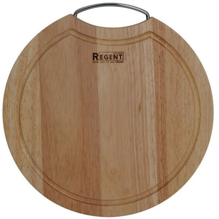 Доска разделочная Regent Inox, из гевеи, 24 х 24 х 1,5 см93-BO-2-08.1Круглая разделочная доска Regent Inox с металлической ручкой изготовлена из высококачественной древесины - гевеи. Доска имеет углубление для стока жидкости вдоль края. Прекрасно подходит для приготовления и сервировки пищи.Гевея - высококачественная порода каучукового дерева. Доски из гевеи, по сравнению с досками, изготовленными из других материалов, обладают следующими преимуществами:- долговечность- практичность- устойчивость к механическим нагрузкам- водоотталкивающие свойства- не впитывают запахи- не расслаиваются и не рассыхаются- не тупят ножи- оригинальный дизайн. На кухне рекомендуется иметь несколько досок, для различных продуктов: для мяса и птицы, для рыбы, для готовых продуктов, для хлеба, овощей и фруктов.Regent Inox предлагает на выбор несколько размеров и форм разделочных досок, а так же кухонные аксессуары из дерева. Характеристики:Материал: гевея. Размер:24 см х 24 см х 1,5 см. Артикул:93-BO-2-08.1.