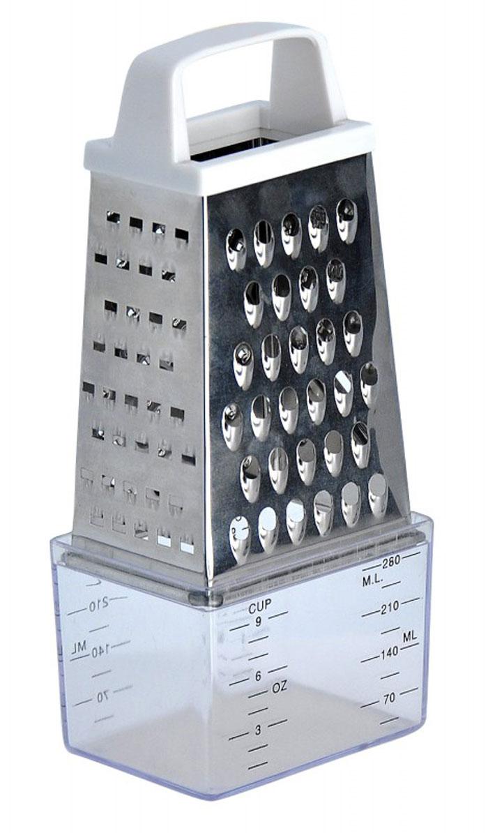 Терка Regent Inox Presto четырёхгранная, с контейнером, 15 см93-AC-GR-06Терка Regent Inox Presto выполнена из высококачественной нержавеющей стали. Терка предназначена для измельчения и нарезки фруктов, овощей и других продуктов. В комплект входит платиковый контейнер с мерными делениями.Преимущества терки Regent Inox Presto:- эргономичная пластиковая ручка,- мягкое нескользящее основание терки,- оригинальный современный дизайн,- четыре режущие поверхности для шинковки, крупной и мелкой нарезки,- качественная заточка режущих элементов,- простота в использовании, легкость в уходе.Терку необходимо мыть сразу после использования. Не используйте для чистки жесткие предметы, металлические мочалки и чистящие порошки. Характеристики:Материал: нержавеющая сталь, пластик.Размер терки (В х Д х Ш): 15 см х 8,5 см х 6 см.Размер контейнера: 9 см х 6,5 см х 6,5 см.Размер упаковки (В х Д х Ш): 9 см х 6,5 см х 15,5 см.Артикул: 93-AC-GR-06.
