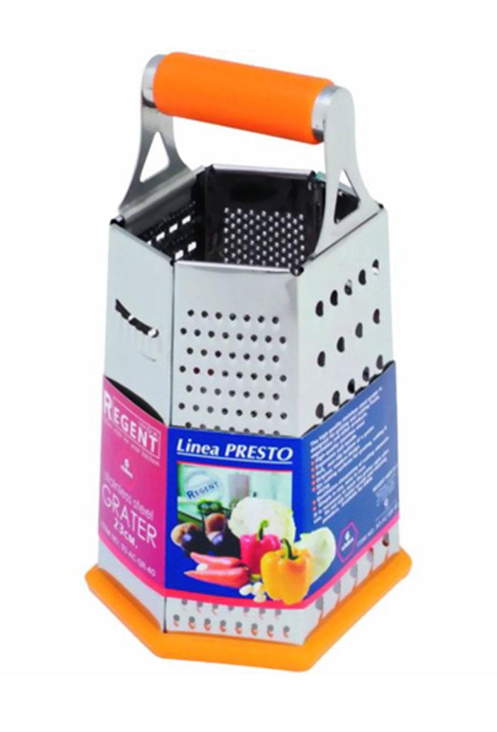 Терка Regent Inox Presto шестигранная, цвет: оранжевый, стальной. 93-AC-GR-4093-AC-GR-40Терка Regent Inox Presto выполнена из высококачественной нержавеющей стали. Терка предназначена для измельчения и нарезки фруктов, овощей и других продуктов.Преимущества терки Regent Inox Presto:- эргономичная пластиковая ручка,- мягкое нескользящее основание терки,- оригинальный современный дизайн,- шесть режущих поверхностей для шинковки, крупной и мелкой нарезки,- качественная заточка режущих элементов,- простота в использовании, легкость в уходе.Терку необходимо мыть сразу после использования. Не используйте для чистки жесткие предметы, металлические мочалки и чистящие порошки. Характеристики:Материал: нержавеющая сталь, пластик.Размер терки (В х Д х Ш): 23 см х 15 см х 11,5 см.Размер упаковки (В х Д х Ш): 25 см х 16 см х 12,5 см.Артикул: 93-AC-GR-40.