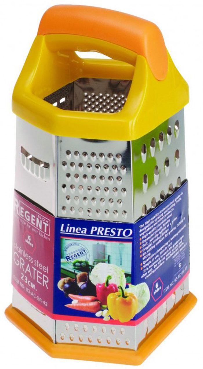 Терка Regent Inox Presto шестигранная, цвет: оранжевый, жёлтый, стальной, 23 см. 93-AC-GR-4393-AC-GR-43Терка Regent Inox Presto выполнена из высококачественной нержавеющей стали. Терка предназначена для измельчения и нарезки фруктов, овощей и других продуктов.Преимущества терки Regent Inox Presto:- эргономичная пластиковая ручка,- мягкое нескользящее основание терки,- оригинальный современный дизайн,- шесть режущих поверхностей для шинковки, крупной и мелкой нарезки,- качественная заточка режущих элементов,- простота в использовании, легкость в уходе.Терку необходимо мыть сразу после использования. Не используйте для чистки жесткие предметы, металлические мочалки и чистящие порошки. Характеристики:Материал: нержавеющая сталь, пластик.Размер терки (В х Д х Ш): 23 см х 15 см х 11,5 см.Размер упаковки (В х Д х Ш): 25 см х 16 см х 12,5 см.Артикул: 93-AC-GR-43.