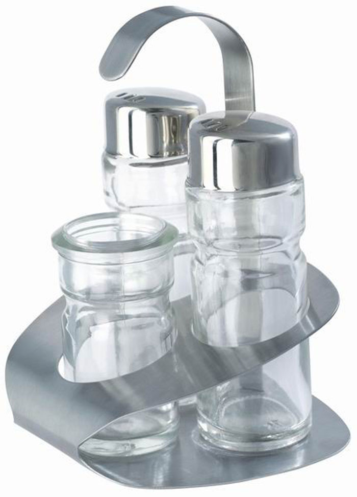 Набор для специй Aroma, 4 предмета. 93-DE-AR-0993-DE-AR-09Набор Aroma состоит из солонки, перечницы, подставки для зубочисток и металлической подставки. Предметы набора изготовлены из нержавеющей стали и стекла, прочных, экологически чистых материалов. Солонка и перечница легки в использовании: стоит только перевернуть емкости, и вы с легкостью сможете поперчить или добавить соль по вкусу в любое блюдо. Можно мыть в посудомоечной машине. Оригинальный дизайн, эстетичность и функциональность набора позволят ему стать достойным дополнением к кухонному инвентарю. Характеристики:Материал: нержавеющая сталь, стекло. Размер солонки, перечницы: 9 см х 3 см х 3 см. Размер подставки для зубочисток: 6 см х 3 см х 3 см. Размер металлической подставки: 12 см х 9 см х 8,5 см Размер упаковки: 13 см х 9,5 см х 9 см. Артикул: 93-DE-AR-09.
