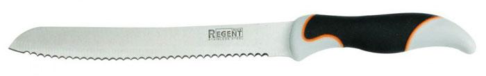 Нож хлебный Regent Inox Torre, длина лезвия 20 см93-KN-TO-2Хлебный нож Regent Inox Torre изготовлен из высококачественной нержавеющей стали. Острое лезвие ножа имеет ровную поверхность и выверенный угол заточки. Специальная закалка металла повышает прочность изделия. Сбалансированность ножа обеспечивает приложение минимальных усилий при резке. Лезвие ножа не впитывает запахи и не оставляет запаха на продуктах.Оригинальная и практичная ручка выполнена из бакелита c прорезиненной поверхностью.Длинное зубчатое лезвие позволяет легко резать, а не мять хлеб и другие продукты с твердой коркой и мягкой серединой (в том числе и ананас). Такой нож займет достойное место среди аксессуаров на вашей кухне. Характеристики:Материал: нержавеющая сталь 18/10, бакелит. Общая длина ножа: 33 см. Длина лезвия: 20 см. Артикул: 93-KN-TO-2.