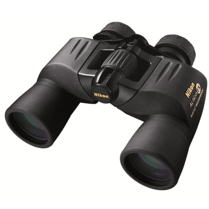 """Nikon Action VII EX 8x40 WP бинокльBAA661AAПриобретая бинокль Nikon Action 8x40 EX WP, Вы становитесь обладателем высококачественного оптического наблюдательного прибора, прекрасно защищённого от воды и влаги и обеспечивающего яркое и чистое изображение даже в сумерках. Область применения - охота и туризм, наблюдения на воде и в горах, спортивные мероприятия, изучение перелётных птиц. Станьте участником незабываемых событий и чудесных открытий вместе с Nikon! Основные характеристики бинокля Nikon Action 8x40 EX WPУвеличение - 8х, светосильные объективы, широкий угол поля зрения, большой вынос выходного зрачка (17,2 мм) Призмы Porro, многослойное просветляющее покрытие линз, эко-стеклоВодонепроницаемый (возможно погружение на глубину до 1 м, в течение 5 мин), газонаполнение - азотОбрезиненный корпус, поворотно-выдвижные наглазникиУстанавливается на штатив (1/4"""") с помощьюадаптераПоставляется в комплекте с широким ремнёмКонструктивные особенности бинокля Nikon Action 8x40 EX WPПревосходное качество изображения Nikon обусловлено использованием современных высококачественных материалов и тщательной проработкой деталей и конструкции в целом. Призмы Porro из стекла Bk4 и линзы с многослойным просветляющим покрытием, установленные в биноклях линейкиNikon Action, позволяют получить яркое объемное изображение, с естественной передачей цвета и хорошим контрастом. Бинокль Nikon Action 8x40 EX WP обеспечит Вам хороший обзор и видимость (вплоть до сумерек) благодаря светосильным объективам и широкому углу поля зрения. Наблюдать с Nikon Action 8x40 EX WP просто и удобно. Перед началом наблюдения настройте бинокль под Вашу базу глаз, отрегулировав межзрачковое расстояние, наведите фокус на нужный объект и проведите диоптрийную коррекцию правого окуляра. Большое удаление выходного зрачка (17,2 мм) - дополнительное удобство для тех, кто использует очки. Бинокль выполнен в прочном обрезиненном корпусе, надёжно защищён от атмосферных осадков и внешних механических повреждений, сохраня"""