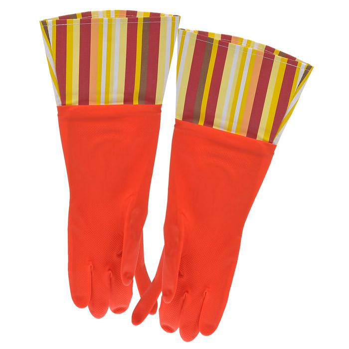 Перчатки резиновые, с манжетой из ПВХ, цвет: красный. Размер М. 2948029480Хозяйственные перчатки, выполненные из резины, идеально подойдут для всех видов хозяйственных работ. Они бережно и надежно предохранят нежную кожу рук от агрессивной внешней среды, такой, как жесткая водопроводная вода и моющие средства. Высокие манжеты защищают рукава от грязи и влаги. Не дают воде попадать во внутрь.