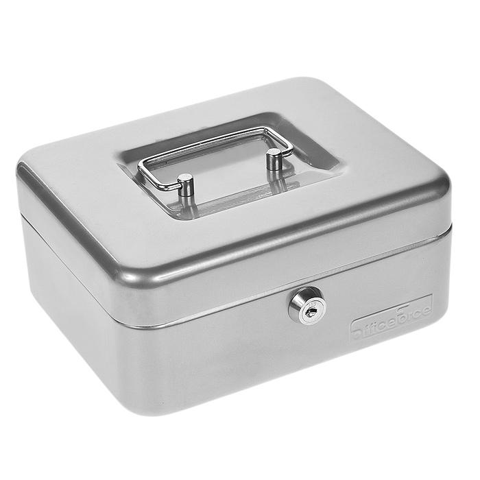"""Кэшбокс """"Office-Force"""" с ключевым замком предназначен для хранения денег и мелких предметов. Он представляет собой металлический контейнер с пластиковым съемным ложементом внутри, разделенным на ячейки. Контейнер покрашен порошковой эмалью в серебристый цвет.   Для удобства транспортировки предусмотрена никелированная ручка.  В комплект входят 2 ключа. Характеристики:   Материал: металл, пластик. Размер кэшбокса: 20 см х 16 см х 9 см. Размер упаковки: 17 см х 20,5 см х 9,5 см. Изготовитель: Китай."""