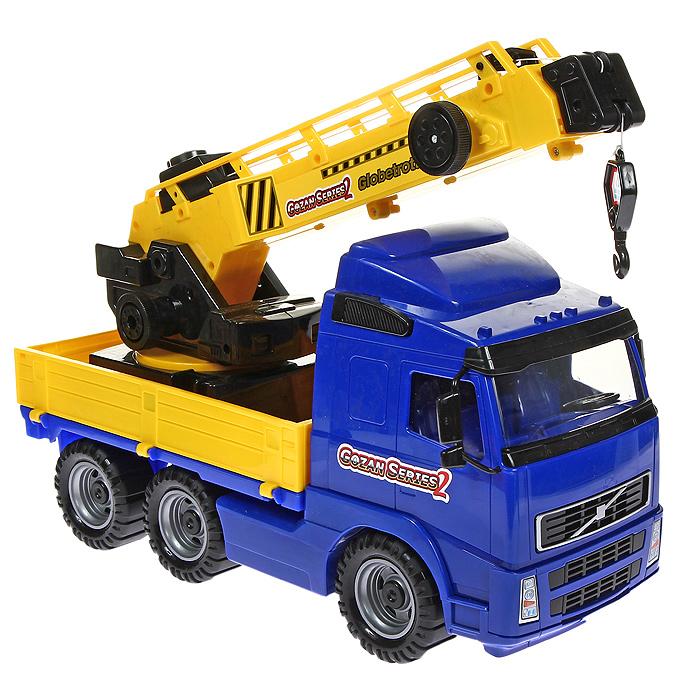 Автомобиль-кран Globetrotter, с поворотной платформой, цвет: синий автомобиль кран полесье mammoet с поворотной платформой 56771