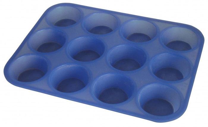 """Форма для кексов """"Regent Inox"""", выполненная из силикона синего цвета, содержит 12 круглых ячеек для выпечки или заморозки.   Силиконовые формы для выпечки имеют много преимуществ по сравнению с традиционными металлическими формами и противнями. Они идеально подходят для использования в микроволновых, газовых и электрических печах при температурах до +230°С. В случае заморозки до -40°С.   За счет высокой теплопроводности силикона изделия выпекаются заметно быстрее. Благодаря гибкости и антиприлипающим свойствам силикона, готовое изделие легко извлекается из формы. Для этого достаточно отогнуть края и вывернуть форму (выпечке дайте немного остыть, а замороженный продукт лучше вынимать сразу).   Силикон абсолютно безвреден для здоровья, не впитывает запахи, не оставляет пятен, легко моется.   С такой формой вы всегда сможете порадовать своих близких оригинальной выпечкой.   Характеристики:  Материал: силикон. Цвет: синий. Количество ячеек: 12 шт. Диаметр ячейки (по верхнему краю): 7,5 см. Диаметр дна ячейки: 5,5 см. Высота ячейки: 3 см. Размер формы: 25 см х 33 см х 3 см Артикул: 93-SI-FO-08.   Как выбрать форму для выпечки – статья на OZON Гид."""