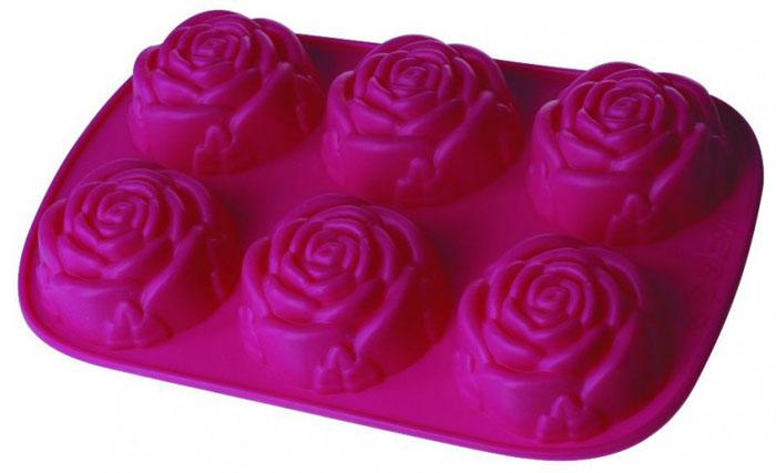 Форма для кексов Regent Inox Розочки, силиконовая, цвет: фуксия, 6 ячеек93-SI-FO-23Форма для кексов Regent Inox Розочки, выполненная из силикона цвета фуксии, содержит 6 круглых ячеек для выпечки или заморозки. Дно ячеек рельефное, в виде розочек.Силиконовые формы для выпечки имеют много преимуществ по сравнению с традиционными металлическими формами и противнями. Они идеально подходят для использования в микроволновых, газовых и электрических печах при температурах до +230°С. В случае заморозки до -40°С.За счет высокой теплопроводности силикона изделия выпекаются заметно быстрее. Благодаря гибкости и антиприлипающим свойствам силикона, готовое изделие легко извлекается из формы. Для этого достаточно отогнуть края и вывернуть форму (выпечке дайте немного остыть, а замороженный продукт лучше вынимать сразу).Силикон абсолютно безвреден для здоровья, не впитывает запахи, не оставляет пятен, легко моется.С такой формой вы всегда сможете порадовать своих близких оригинальной выпечкой. Характеристики:Материал: силикон. Цвет: фуксия. Количество ячеек: 6 шт. Диаметр ячейки: 8 см. Размер формы: 18 см х 28 см х 3,5 см Артикул: 93-SI-FO-23.