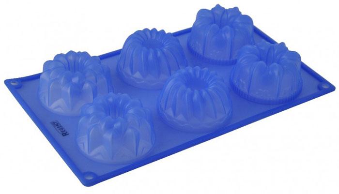 Форма для кексов Regent Inox Ассорти, силиконовая, цвет: синий, 6 ячеек93-SI-FO-26Форма для кексов Regent Inox Ассорти изготовлена из силикона синего цвета и содержит 6 круглых ячеек с рельефным дном для выпечки или заморозки. Силиконовые формы для выпечки имеют много преимуществ по сравнению с традиционными металлическими формами и противнями. Они идеально подходят для использования в микроволновых, газовых и электрических печах при температурах до +230°С. В случае заморозки до -40°С. За счет высокой теплопроводности силикона изделия выпекаются заметно быстрее. Благодаря гибкости и антиприлипающим свойствам силикона, готовое изделие легко извлекается из формы. Для этого достаточно отогнуть края и вывернуть форму (выпечке дайте немного остыть, а замороженный продукт лучше вынимать сразу). Силикон абсолютно безвреден для здоровья, не впитывает запахи, не оставляет пятен, легко моется. С такой формой вы всегда сможете порадовать своих близких оригинальной выпечкой. Характеристики:Материал: силикон. Цвет: синий. Количество ячеек: 6 шт. Диаметр ячейки: 7,5 см. Размер формы: 17,5 см х 29,5 см х 3,5 см Артикул: 93-SI-FO-26. Как выбрать форму для выпечки – статья на OZON Гид.