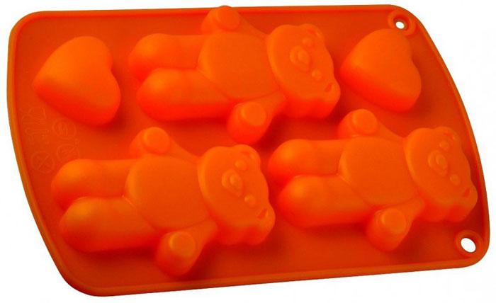 Форма для выпечки и заморозки Три медведя, силиконовая, цвет: оранжевый.93-SI-FO-64Силиконовая форма для выпечки и заморозки продуктов предназначена для изготовления конфет, мармелада, желе, льда, выпечки и т.д. Состоит из трёх ячеек в форме медвежат и двух - в форме маленьких сердечек. Оригинальный способ подачи изделий не оставит равнодушным родных и друзей. Силиконовые формы Regent Inox Silicone выдерживают высокие и низкие температуры (от - 40 до +230 градусов). Они эластичны, износостойки, легко моются, не горят и не тлеют, не впитывают запахи, не оставляют пятен. Силикон абсолютно безвреден для здоровья. Характеристики:Материал: силикон. Общий размер формы: 21 см х 13 см х 2 см. Размер ячейки Медвежонок: 8,5 см х 6 см х 1 см. Размер ячейки Сердечко: 3,5 см х 3,5 см х 1 см. Размер упаковки: 30 см х 14,5 см х 2 см. Производитель: Италия. Артикул: 93-SI-FO-64.