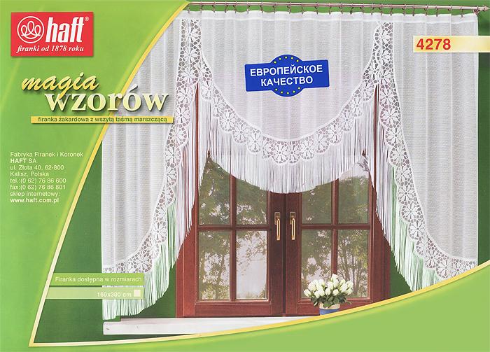 Гардина Haft, на ленте, цвет: белый, высота 160 см. 124217124217Воздушная гардина Haft, изготовленная из полиэстера белого цвета, станет великолепным украшением любого окна. Гардина украшена нежным орнаментом, а также эффектной бахромой по нижнему краю. Такое сочетание, несомненно, привлечет к себе внимание и органично впишется в интерьер комнаты. В гардину вшита шторная лента. Характеристики:Материал: 100% полиэстер. Размер упаковки:37 см х 28 см х 3 см. Цвет: белый. Артикул: 124217.В комплект входит: Гардина - 1 шт. Размер (Ш х В): 300 см х 160 см. Текстильная компания Haft имеет богатую историю. Основанная в 1878 году в Польше, эта фирма зарекомендовала себя в качестве одного из лидеров текстильной промышленности в Европе. Еще в начале XX века фабрика Haft производила 90% всех текстильных изделий в своей стране, с годами производство расширялось, накопленный опыт позволял наиболее выгодно использовать развивающиеся технологии. Главный ассортимент компании - это тюль и занавески. Haft предлагает готовые решения дляваших окон, выпуская готовые наборы штор, которые остается только распаковать и повесить. Модельный ряд отличает оригинальный дизайн, высокое качество. Занавески, шторы, гардины Haft долговечны, прочны, практически не сминаемы, они не притягивают пыль и за ними легко ухаживать.Вся продукция бренда Haft выполнена на современном оборудовании из лучших материалов.