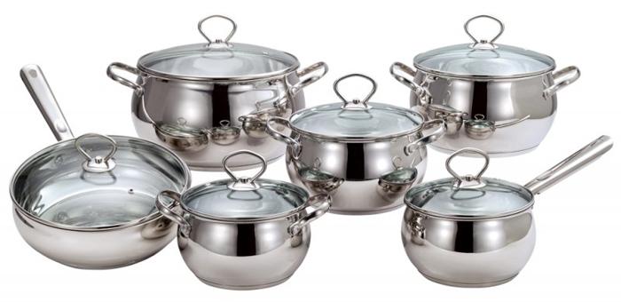 Набор посуды Costo Vitro, 12 предметов93-CO-01-07Набор Costo Vitro состоит из ковша с крышкой, 4 кастрюль с крышками и сковороды с крышкой. Посуда выполнена из высококачественной нержавеющей стали с зеркальным полированием. Крышки, изготовленные из термостойкого стекла, снабжены металлическими ободками для прочности и более плотного закрывания, а также отверстиями для выпуска пара.В посуде Costo Vitro, изготовленной из экологически чистого материала, можно готовить без масла или жира, в этой посуде сохраняются все полезные свойства продуктов и естественные вкусовые качества. Оптимальное соотношение толщины дна и стенок посуды обеспечивает равномерное распределение тепла, экономит энергию, делает посуду устойчивой к деформации. Многослойное капсулированное дно аккумулирует тепло, способствует быстрому закипанию и приготовлению пищи даже при небольшой мощности конфорок. Крепление ручек посуды к корпусу методом точечной сварки обеспечивает минимальный нагрев, прочность и надежность.Набор посуды Costo Vitro подходит для всех видов кухонных плит, включая индукционные. Можно мыть в посудомоечной машине.Набор посуды Costo Vitro функционален, гигиеничен и эргономичен, а благодаря оригинальному дизайну он станет украшением любой кухни. Характеристики:Материал: нержавеющая сталь, стекло.Комплектация: 4 кастрюли, 1 ковш с ручкой, 1 сковорода с ручкой, 6 крышек.Объем кастрюль: 2,2 л, 2,8 л, 3,8 л, 6,3 л.Внутренний диаметр кастрюль: 16 см, 18 см, 20 см, 24 см.Высота стенок кастрюль: 10 см, 11 см, 12 см, 14 см.Объем ковша: 2,2 л.Внутренний диаметр ковша: 16 см.Высота стенок ковша: 10 см.Длина ручки ковша: 16 см.Объем сковороды: 3 л.Внутренний диаметр сковороды: 24 см.Высота стенок сковороды: 7,5 см.Длина ручки сковороды: 18 см.Толщина стенок посуды: 0,5 мм.Толщина дна посуды: 3 мм.Артикул: 93-CO-01-07.