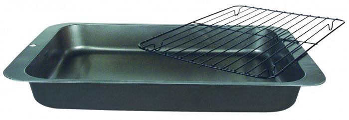 """Противень Regent Inox """"Easy"""" выполнен из высококачественной углеродистой стали и снабжен   антипригарным покрытием, что обеспечивает ему прочность и долговечность. С решёткой можно   приготовить вкусные и полезные запеченные блюда без использования масла. Лишний жир   стечёт в противень с антипригарным покрытием. Без решётки можно использовать для выпечки.  Противень равномерно и быстро прогревается, что способствует лучшему пропеканию пищи. Его   легко чистить. Готовая выпечка без труда извлекается.  Противень подходит для использования в духовке с максимальной температурой 250°С.  Перед каждым использованием противень необходимо смазать небольшим количеством масла.   Чтобы избежать повреждений антипригарного покрытия, не используйте металлические или   острые кухонные принадлежности. Можно мыть в посудомоечной машине.   Характеристики:Материал: углеродистая сталь. Размер противеня: 36 см х 27 см х 4,5 см. Размер решётки: 28,5 см х 21,5 см х 0,5 см. Размер упаковки: 37 см х 27,5 см х 4,5 см. Изготовитель: Италия. Артикул: 93-CS-EA-2-05."""