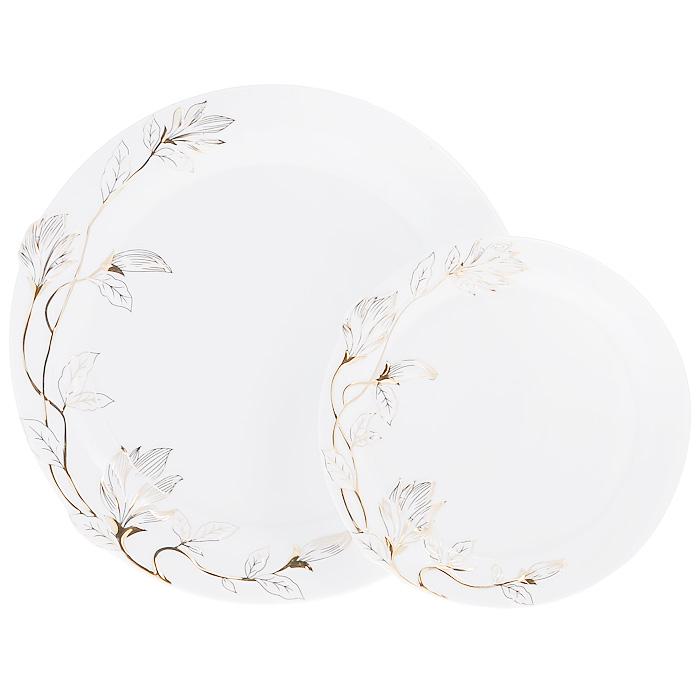Набор блюд Золотая ветка, цвет: белый, 2 шт595-012Набор Золотая ветка, выполненный из высококачественного фарфора белого цвета, состоит из двух блюд разного размера. Блюда декорированы рельефной веткой, покрытой эмалью золотистого цвета. Набор сочетает в себе изысканный дизайн с максимальной функциональностью. Красочность оформления придется по вкусу и ценителям классики, и тем, кто предпочитает утонченность и изысканность. Набор блюд Золотая ветка идеально подойдет для сервировки стола и станет отличным подарком к любому празднику. Характеристики:Материал: фарфор. Цвет: белый. Размер большого блюда: 26,5 см х 26,5 см х 2,5 см. Размер маленького блюда: 19 см х 19 см х 1,5 см. Размер упаковки: 30,5 см х 30,5 см х 7 см. Артикул: 595-012.