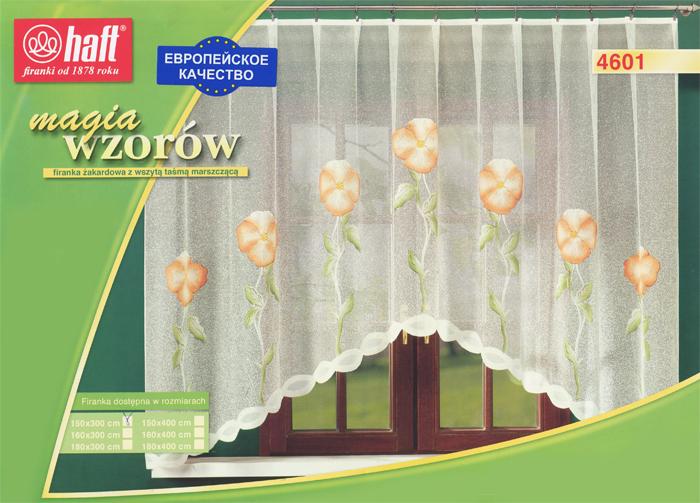 Гардина Haft, на ленте, цвет: кремовый, высота 150 см. 437529437529Воздушная гардина Haft, изготовленная из полиэстера кремового цвета, станет великолепным украшением любого окна. Оригинальный цветочный рисунок привлечет к себе внимание и органично впишется в интерьер комнаты. В гардину вшита шторная лента. Характеристики:Материал: 100% полиэстер. Размер упаковки:37 см х 28 см х 3 см. Цвет: кремовый. Артикул: 437529.В комплект входит: Гардина - 1 шт. Размер (Ш х В): 300 см х 150 см. Текстильная компания Haft имеет богатую историю. Основанная в 1878 году в Польше, эта фирма зарекомендовала себя в качестве одного из лидеров текстильной промышленности в Европе. Еще в начале XX века фабрика Haft производила 90% всех текстильных изделий в своей стране, с годами производство расширялось, накопленный опыт позволял наиболее выгодно использовать развивающиеся технологии. Главный ассортимент компании - это тюль и занавески. Haft предлагает готовые решения дляваших окон, выпуская готовые наборы штор, которые остается только распаковать и повесить. Модельный ряд отличает оригинальный дизайн, высокое качество. Занавески, шторы, гардины Haft долговечны, прочны, практически не сминаемы, они не притягивают пыль и за ними легко ухаживать.Вся продукция бренда Haft выполнена на современном оборудовании из лучших материалов.
