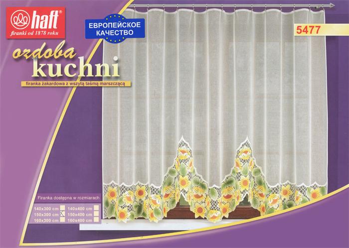 Гардина Haft, на ленте, цвет: кремовый, высота 150 см. 489375489375Воздушная гардина Haft, изготовленная из полиэстера кремового цвета, станет великолепным украшением любого окна. Оригинальный цветочный рисунок, украшающий нижний край гардины, и нежная ажурная фактура материала привлекут к себе внимание и органично впишутся в интерьер комнаты. В гардину вшита шторная лента. Характеристики:Материал: 100% полиэстер. Размер упаковки:37 см х 28 см х 3 см. Цвет: кремовый. Артикул: 489375.В комплект входит: Гардина - 1 шт. Размер (Ш х В): 300 см х 150 см. Текстильная компания Haft имеет богатую историю. Основанная в 1878 году в Польше, эта фирма зарекомендовала себя в качестве одного из лидеров текстильной промышленности в Европе. Еще в начале XX века фабрика Haft производила 90% всех текстильных изделий в своей стране, с годами производство расширялось, накопленный опыт позволял наиболее выгодно использовать развивающиеся технологии. Главный ассортимент компании - это тюль и занавески. Haft предлагает готовые решения дляваших окон, выпуская готовые наборы штор, которые остается только распаковать и повесить. Модельный ряд отличает оригинальный дизайн, высокое качество. Занавески, шторы, гардины Haft долговечны, прочны, практически не сминаемы, они не притягивают пыль и за ними легко ухаживать.Вся продукция бренда Haft выполнена на современном оборудовании из лучших материалов.