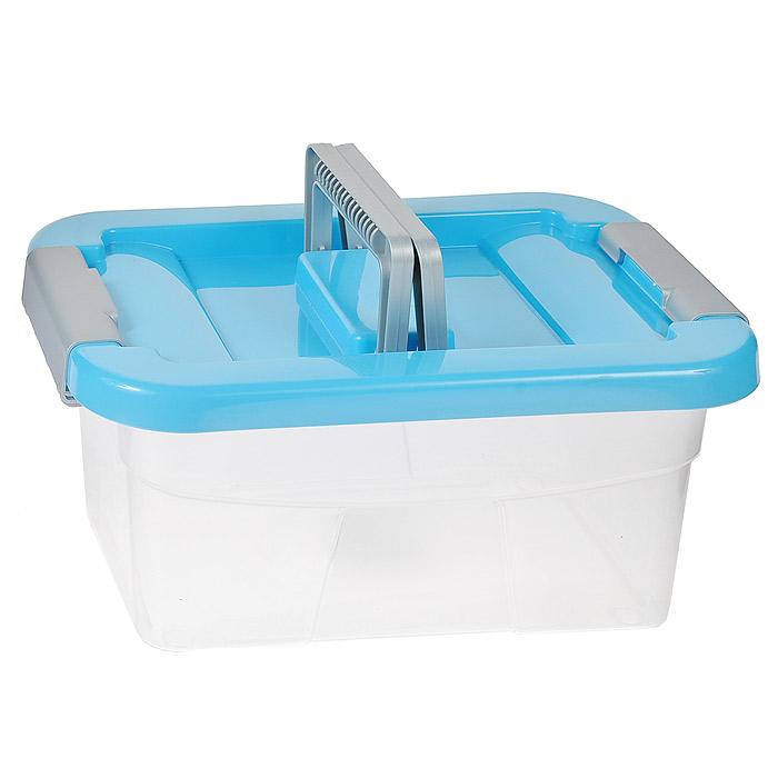 Контейнер хозяйственный Gensini, цвет: прозрачный, голубой, 5 л2164Хозяйственный контейнер Gensini, выполненный из пластика, предназначен для надежного хранения вещей. Крышка контейнера закрывается по бокам на две защелки, которые предотвращают случайное открывание. Также на крышке имеются две складные ручки для удобной переноски.Размер: 29 х 19,5 х 13,5 см.