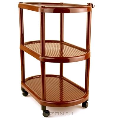 """Овальная этажерка """"Полимербыт"""" с 3 полками выполнена из пластика и предназначена для хранения различных предметов на кухне, в ванной или прихожей. На кухне в ней можно хранить овощи и фрукты, в ванной - различные ванные принадлежности, в прихожей - обуви и аксессуары. Для удобства перемещения этажерка оснащена колесиками. Очень удобная и компактная, но в тоже время вместительная, она прекрасно впишется в пространство любого помещения. Этажерка придется особенно кстати, если у вас небольшая ванная или кухня: она займет минимум пространства. Легко собирается и разбирается."""