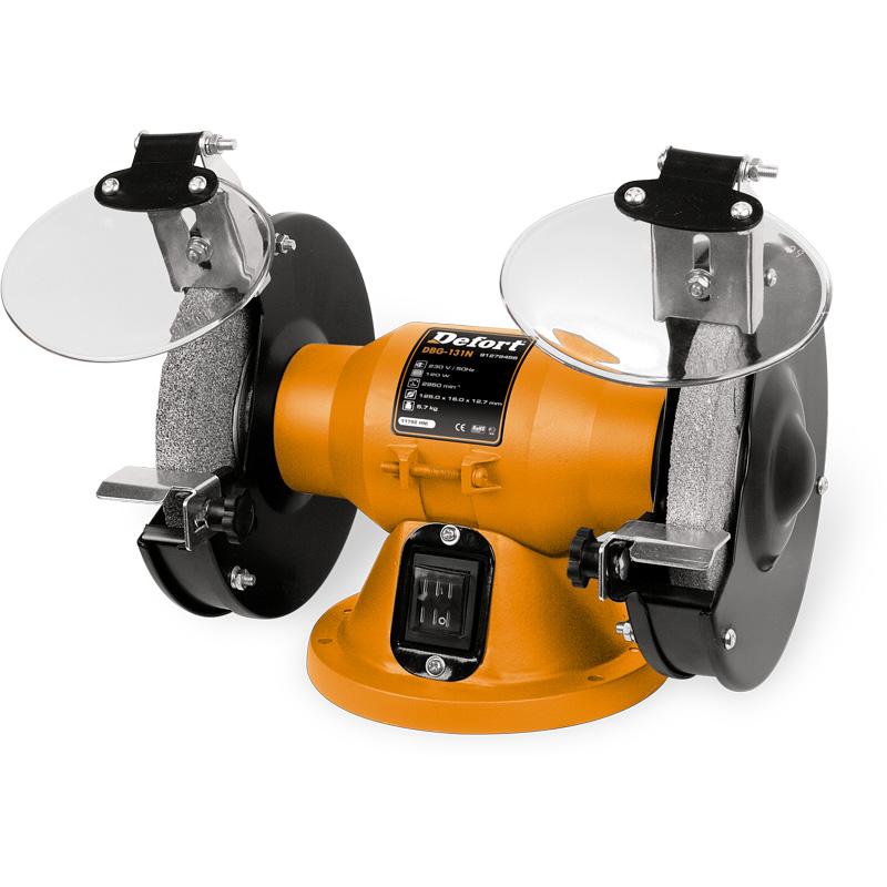 Машина заточная Defort DBG-131N93728700Машина заточная Defort DBG-131N предназначена для заточки различного режущего инструмента, а также для шлифовки. Компактная кострукция, малошумный двигатель, пылезащищенный выключатель, защитные экраны, резиновые опоры, упоры для деталеи.Комплектация: упор 2 шт, диск абразивный 2 шт, кронштейн защитного щитка 2 шт, защитный щиток 2 шт.Посадочный диаметр диска: 12,7 мм120 ВтПитание от сети 220 В125 х 16 мм 2950 об/мин Характеристики:Материал: пластик, металл. Размер упаковки: 29 см х 18 см х 21 см.