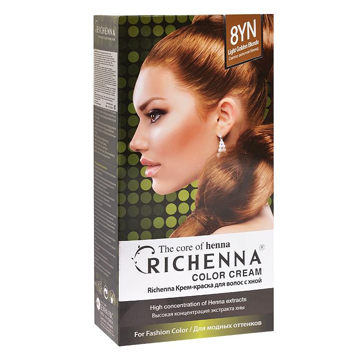 Richenna Крем-краска для волос, с хной, оттенок 8YN Светло-золотой блонд29006Крем-краска для волос Richenna с хной позволяет уменьшить повреждение волос, сделать их эластичными и здоровыми, придать волосам живой цвет и красивый блеск. Не раздражая кожу, крем-краска полностью закрашивает седину и обладает приятным цветочным ароматом.Рекомендуется для безопасного изменения цвета волос, полного окрашивания седых волос и в случае повышенной чувствительности к искусственным компонентам краски для волос.Благодаря кремовой текстуре хорошо наносится и не течет.Время окрашивания 20-30 минут.Упаковка средства в 2-х отдельных тубах позволяет использовать средство несколько раз в зависимости от объема и длины волос.Объем крема-краски 60 г, объем крема-окислителя 60 г, объем шампуня с хной 10 мл, объем кондиционера с хной 7 мл.В комплекте: 1 тюбик с крем-краской, 1 тюбик с крем-окислителем, пакетик с шампунем, пакетик с кондиционером, 1 пара перчаток, накидка, пластиковая тара, расческа-кисточка для нанесения и распределения крем-краски и инструкция по применению.Товар сертифицирован.