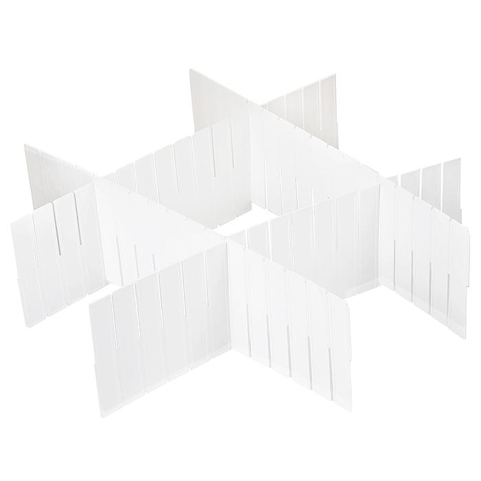 """Набор разделителей для ящиков """"Loks"""" выполнен из пластика белого цвета. Пластиковые разделители предназначены для организации пространства в ящиках столов и шкафов. Особая конструкция изделия позволяет оптимально подобрать размер секций под разные типы ящиков (в случае необходимости лишние секции разделителей можно отрезать). Набор укомплектован инструкцией по установке.   Набор разделителей для ящиков """"Loks"""" поможет сохранить порядок и оптимизировать пространство ящика. Характеристики: Материал: пластик. Цвет: белый. Размер разделителей: 41 см х 13 см. Комплектация: 4 шт. Размер упаковки: 50 см х 14 см х 1 см. Артикул:   L102-113. Страна: Китай."""